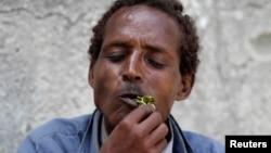 Un homme mâche du khat à Moagdiscio, Somalie, 10 août 2014.