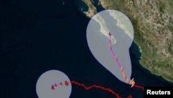 El mapa muestra la trayectoria del huracán Bud hacia Baja California.