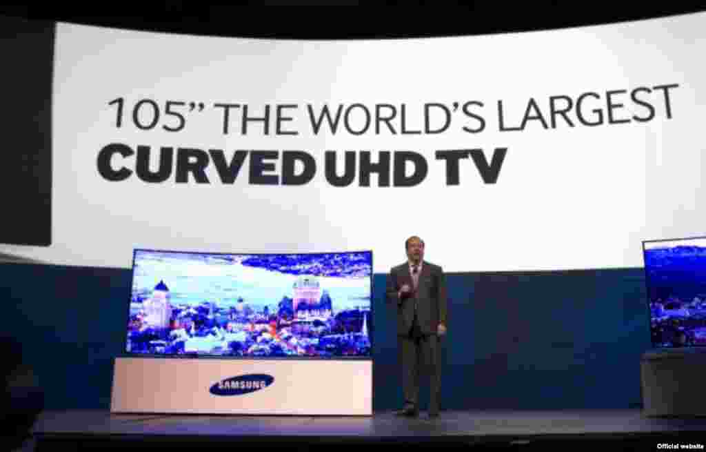 Televisões ultra HD de 105 polegadas lançadas pela Samsung e pela LG
