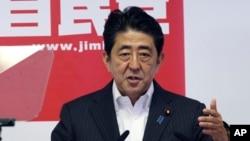 Thủ tướng Nhật Bản Shinzo Abe phát biểu trong một cuộc họp báo ở Tokyo, 11/7/2016.