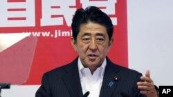 日本首相安倍晋三7月12日在东京的一次记者会上讲话。