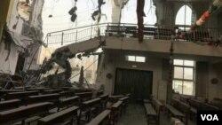 郑州大里基督教堂被拆毁(对华援助协会图片)