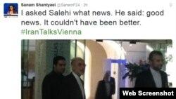 صالحی در پاسخ به خبرنگار فرانس ۲۴ که پرسید از مذاکرات چه خبر، گفت «خبرهای خوب؛ از این بهتر نمیشود.»