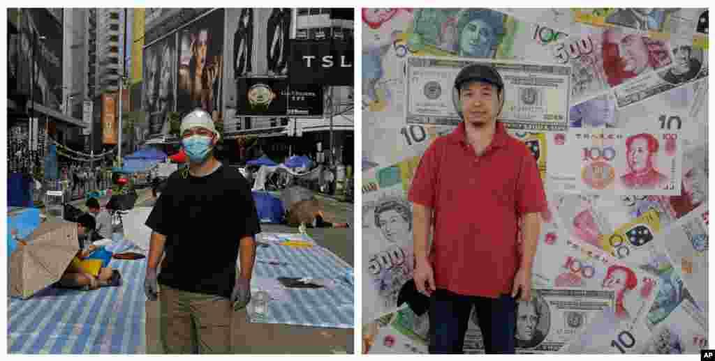 Foto kiri: Melvin Lee, seorang insinyur, di jalan utama wilayah yang diduduki demonstran di distrik Causeway Bay di Hong Kong, 10 Oktober 2014. Kanan: Lee di depan dinding dekat kantornya di Hong Kong hampir setahun kemudian (25/9). (AP/Vincent Yu)