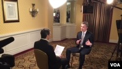 NATO Secretary General Jens Stoltenberg speaking to VOA's Jeff Seldin, March, 26, 2015.