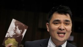 Pulitzer Prize-winning journalist, immigration rights activist and self-declared undocumented immigrant Jose Antonio Vargas testifies on Capitol Hill in Washington, Feb. 13, 2013, before the Senate Judiciary Committee hearing on comprehensive immigration