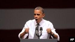 8일 미국 샌프란시스코에서 연설 중인 바락 오바마 미국 대통령.
