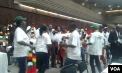 Bathwele izembatho zentanyeni ezivela umbala weflegi yeZimbabwe.