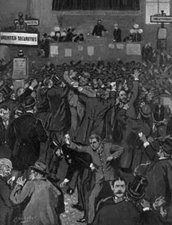 Disorder on the floor of the New York Stock Exchange in May 1893. The failure of a railroad and other companies started panic selling