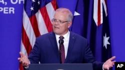 Australian Prime Minister Scott Morrison speaks alongside President Donald Trump during a joint visit to mark the opening of an Australian-owned Pratt Industries plant, Sept. 22, 2019, in Wapakoneta, Ohio.