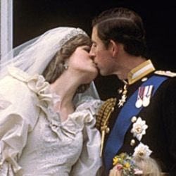 Charles, Prince of Wales, and Princess Diana kiss at their wedding in 1981