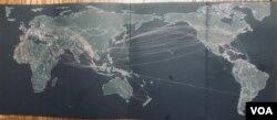 Bản đồ những đường bay của lịch sử đi tản người Việt sau 30-4-75.