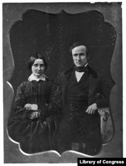 Rutherford B. Hayes and his wife, Lucy Webb, on their wedding day, Dec. 30, 1852. (Library of Congress)