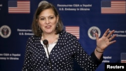 "U.S. Assistant Secretary of State Victoria Nuland speaks during a news conference in Kyiv, Ukraine, April 27, 2016. She has called on the country's government ""to start locking up people who have ripped off the Ukrainian population for too long."""