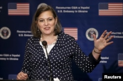 """U.S. Assistant Secretary of State Victoria Nuland speaks during a news conference in Kyiv, Ukraine, April 27, 2016. She has called on the country's government """"to start locking up people who have ripped off the Ukrainian population for too long."""""""