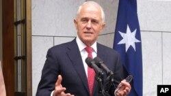 Perdana Menteri Australia Malcolm Turnbull memberikan keterangan kepada wartawan di Gedung Parlemen Australia di Canberra, 21 Agustus 2018.