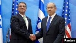 Secretário de Defesa, Ash Carter (esquerda) e Primeiro-ministro do Israel, Benjamin Netanyahu, em Jerusalém.
