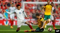 L'équipe d'Angleterre contre celle de la Lituanie lors des qualifications pour le mondial 2018 à Londres, le 26 mars 2017.