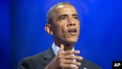 President Barack Obama speaks at the Clinton Global Initiative in New York, Sept. 23, 2014.