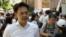 Ông Hoàng Tứ Duy, phát ngôn nhân của Việt Tân, tại cuộc biểu tình phản đối Tập đoàn Formosa Plastics ở Đài Bắc, Đài Loan, ngày 10/8/2016.