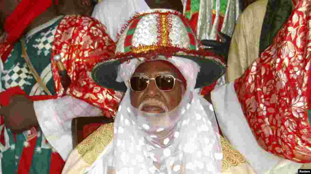Emir of Kano, Alhaji Ado Bayero, sits as he attends an event marking his 50th year on the throne.