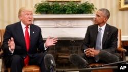 11月10日星期四總統當選人唐納德川普與現任美國總統巴拉克奧巴馬白宮見面。