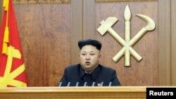 김정은 북한 국방위원회 제 1위원장이 1일 신년사를 하고 있다.