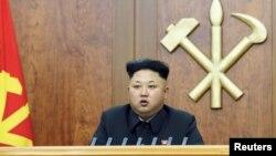 Lãnh tụ Bắc Triều Tiên đọc thông điệp đầu năm tại Bình Nhưỡng, ngày 1/1/2015.