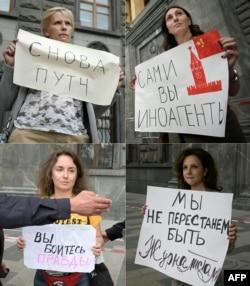 Aksi protes jurnalis di Moskow, Rusia, 21 Agustus 2021. (Natalia KOLESNIKOVA / AFP)