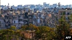 Khu vực Bustan al-Basha của thành phố Aleppo bị tàn phá nặng nề, ngày 06 tháng 10 năm 2016.