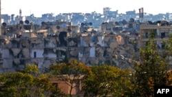 2016年10月6日,反政府武裝控制的阿勒頗一居民區遭受毀壞。