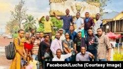 Les 7 militants du mouvement Lutte pour le changement (Lucha) posent avec leurs camarades après leur libération, RDC, 5 septembre 2018. (Facebook/Lucha)