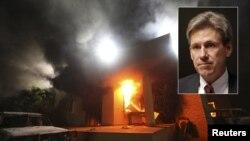 El embajador de Estados Unidos en Libia, John Christopher Stevens (foto inserta), murió asfixiado por el humo de los incendios provocados al ser atacado el consulado estadounidense en Bengasi.