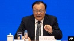 Chủ tịch khu vực Tân Cương, ông Shohrat Zakir, tại cuộc họp báo ở Bắc Kinh ngày 9/12/2019.