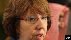 FILE - EU foreign policy chief Catherine Ashton