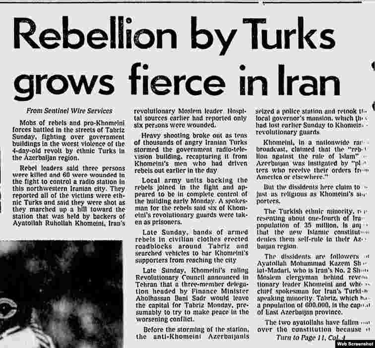 Türklərin üsyanı İranda şiddəti artırır The Milwaukee Sentinel - December 1979
