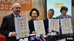 「香港 2020 」公佈 2017 年香港特首普選「候補人方案」 。 (美國之音湯惠芸攝 )