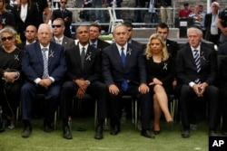 Barack Obama, Israeli Prime Minister Benjamin Netanyahu sit during the funeral of former Israeli President Shimon Peres.