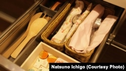 Organizing expert Marie Kondo keeps clutter out of a kitchen drawer. (Photo Credit: Natsuno Ichigo)