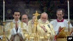 Le pape François lors de la messe du 14 mars 2013