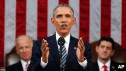 Tổng thống Obama đọc diễn văn về Tình trạng Liên bang trước lưỡng viện Quốc hội ở Washington, ngày 12/1/2016.