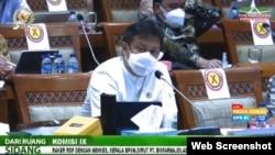 Menteri Kesehatan Budi Gunadi Sadikin dalam rapat dengan Komisi IX DPR RI di Jakarta, Rabu (25/8).(VOA)
