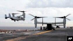 Aeronaves MV-22 Osprey del Cuerpo de Infantería de Marina de EE.UU. realizaron ejercicios conjuntos con Australia. Foto de archvio del 29 de junio de 2017.