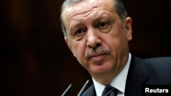Turkey's Prime Minister Tayyip Erdogan addresses members of parliament from his ruling AK Party (AKP) in Ankara, April 16, 2013 file photo.
