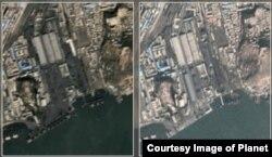 북한 서해안 남포항의 지난해 10월 12일 위성사진(왼쪽)과 올해 12월 4일 위성사진. (제공=Planet)
