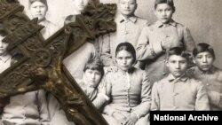 FILE - Apache boarding school students, 1886.