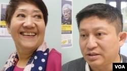 洛杉矶香港论坛主席叶长江(右)和听众董复兴(美国之音国符拍摄)