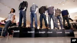 Blue jeans on display at a Gap store in California.