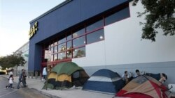 Shoppers camped outside a Best Buy electronics store in Pembroke Pines, Florida, on Wednesday, waiting for specials on Black Friday