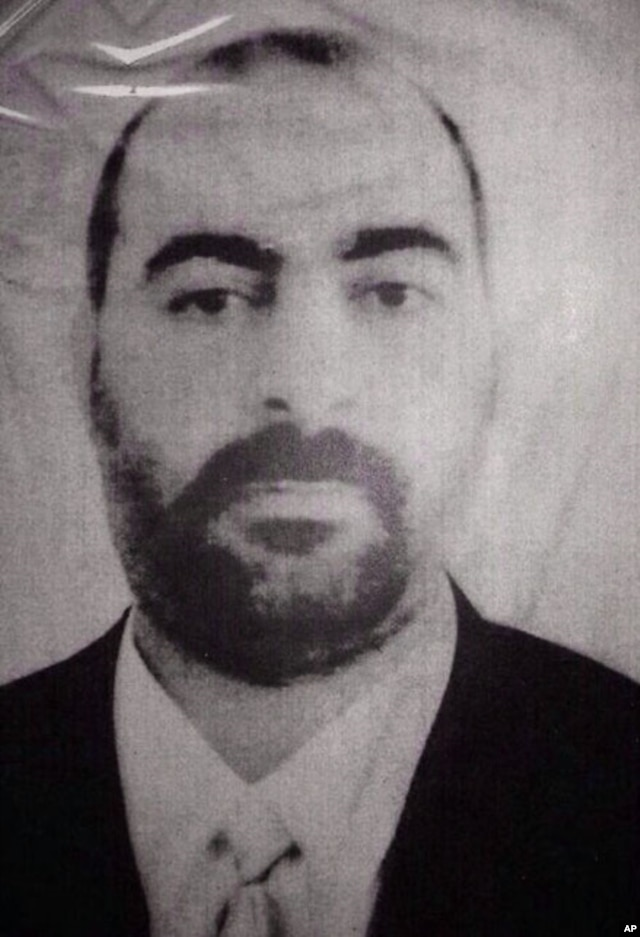 FILE - The official website of Iraq's Interior Ministry claims to show Abu Bakr al-Baghdadi, the head of the so called Islamic State of Iraq and the Levant.